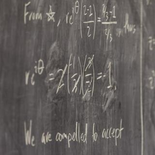 Math formulas on a chalkboard