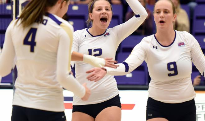 Volleyball players cheer after scoring a point