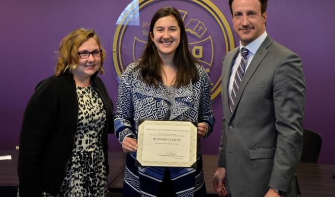 From L to R: Residence Life Area Coordinator Michelle Cain, Natasha Dacic w/ ILS award, Dean of Students Paul Bennion
