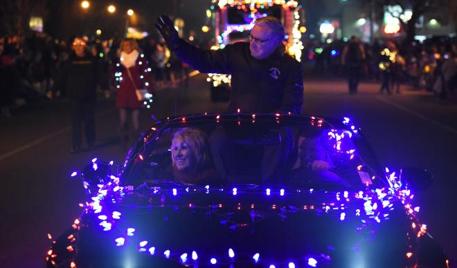 Bob and Leslee Hoover lead the way at the Annual Treasure Valley Night Light Parade