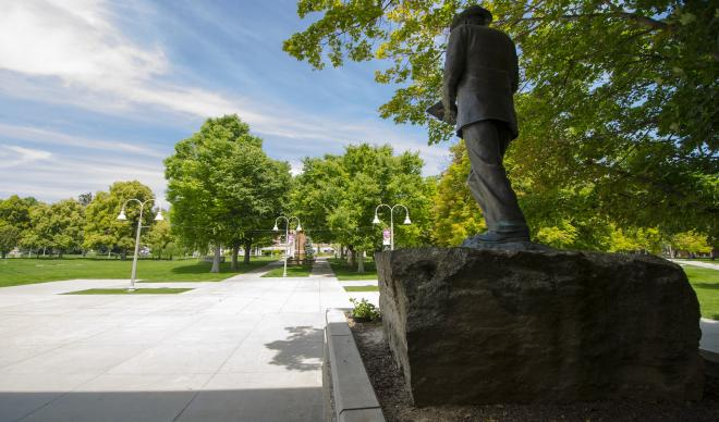 The statue of William Judson Boone overlooks The College of Idaho campus.