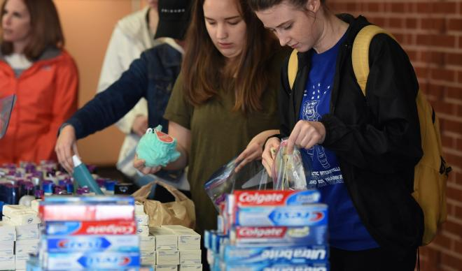 C of I students create hygiene kits on Martin Luther King Jr. Day.