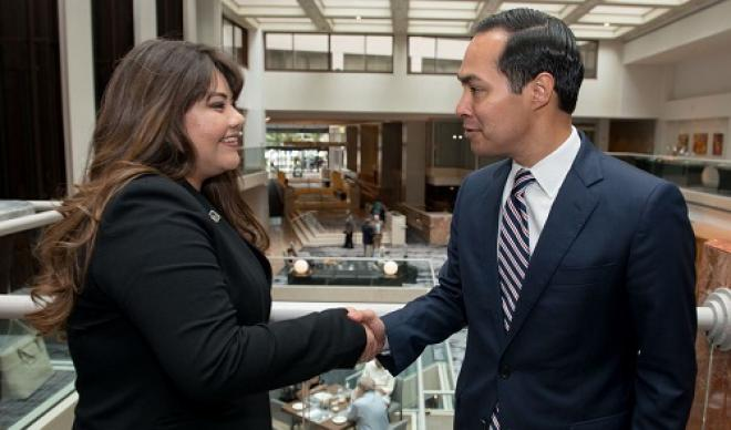 Aliza Auces '16 shakes hands with a lawmaker in Washington D.C.
