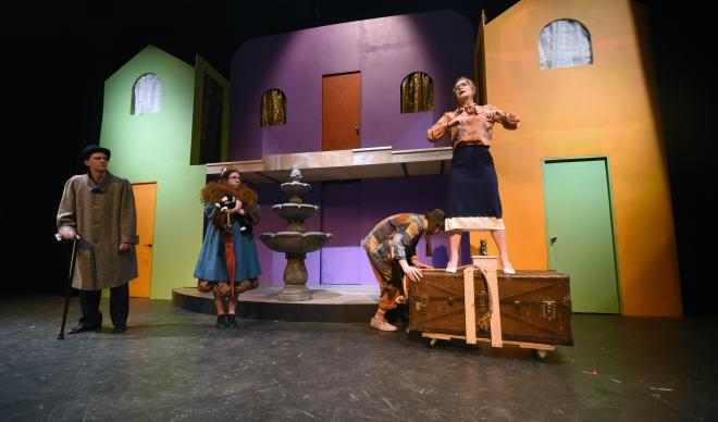 "The cast of C of I's production of ""Scapin"" perform in the Langroise Studio Theatre."