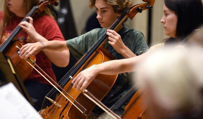 Students play cello at The College of Idaho Cello Festival.