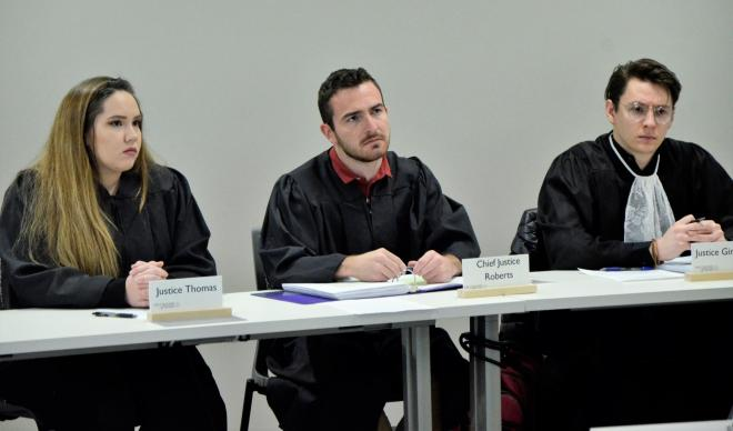 Justices in Mock Court hearings
