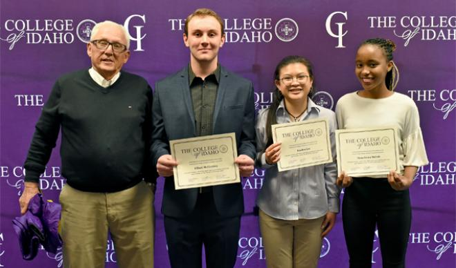Duane Stueckle with scholarship recipients