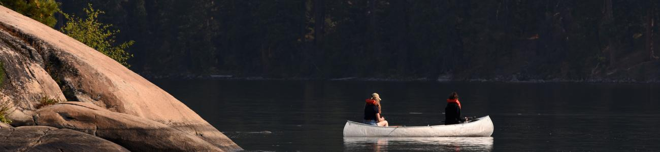 Students paddle a canoe during the McCall Wilderness Experience Orientation